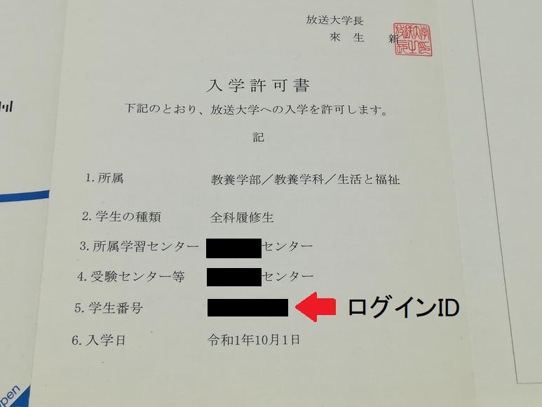 放送大学の入学許可書